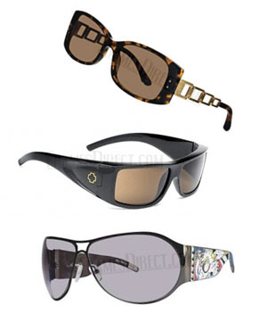 Top to bottom: Dana Buchman Marina sunglasses, Spy Oasis sunglasses, Ed Hardy EHS 011 sunglasses